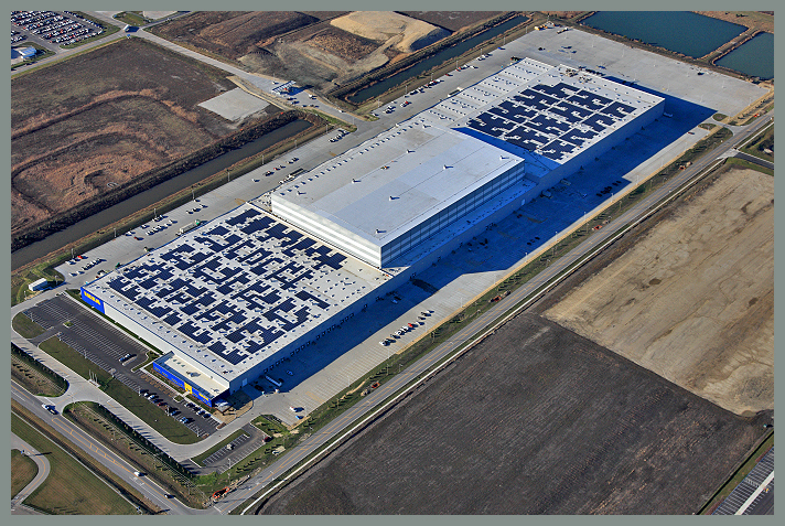 The rooftop project consists of a 2.85MW system comprised of 9,036 panels that will produce approximately 3,377,000 kWh of electricity annually. Image: IKEA