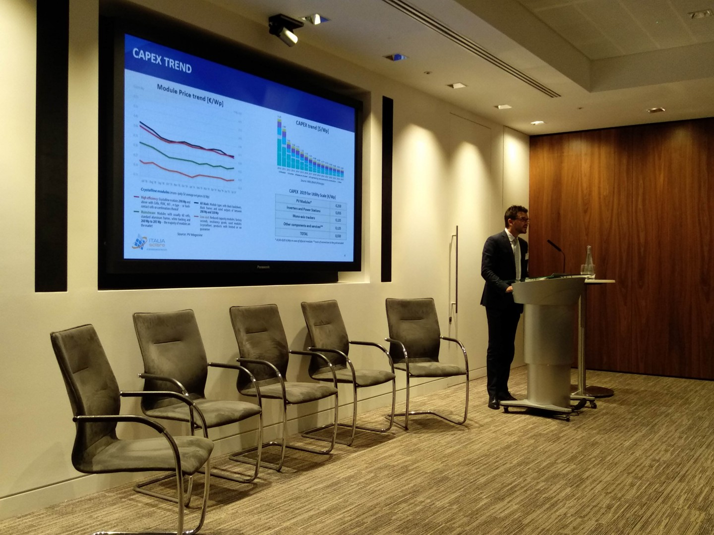 The belief in energy storage's central role in the Italian solar transition extended to various speakers at Italia Solare's London session (Image credit: Solar Media)