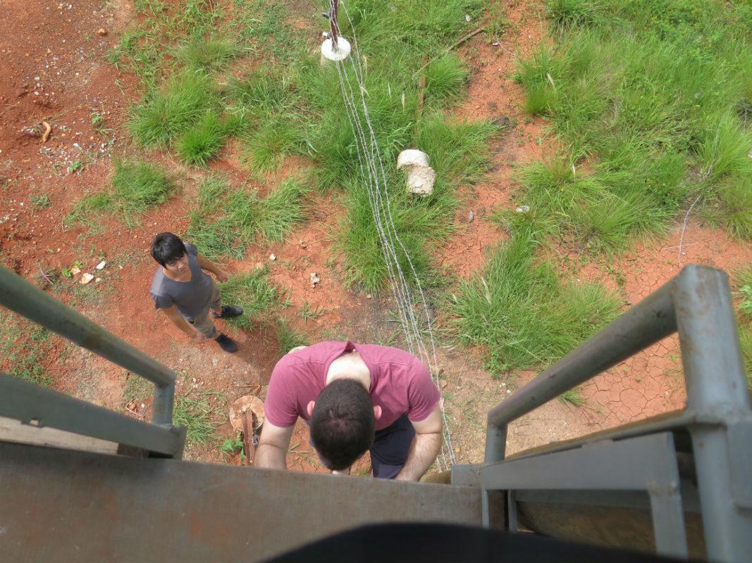 climbing the guard tower