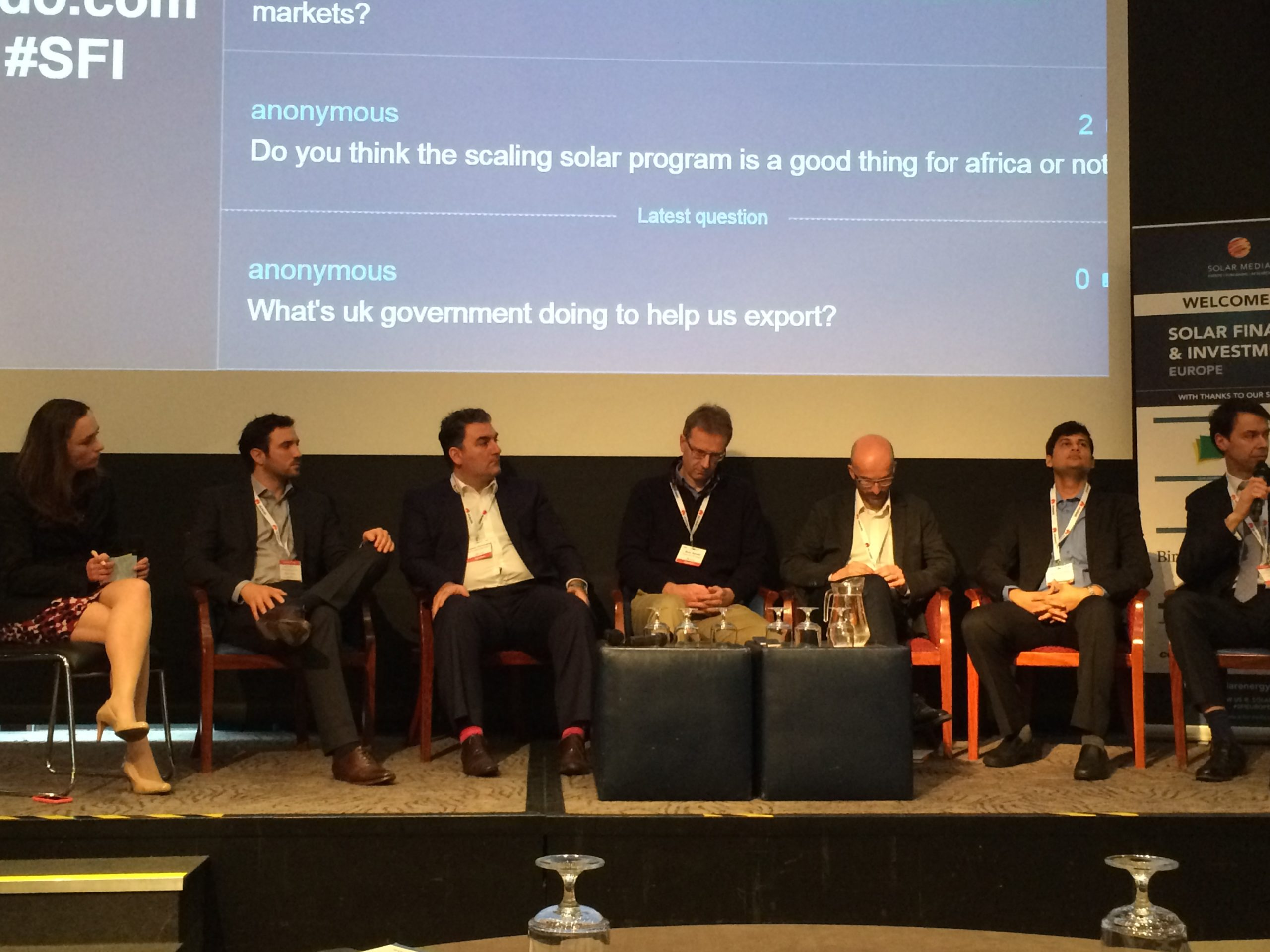 A panel of investors discuss the effects of Zambia's record-low tariff under the IFC's Scaling Solar programme. Source: Danielle Ola
