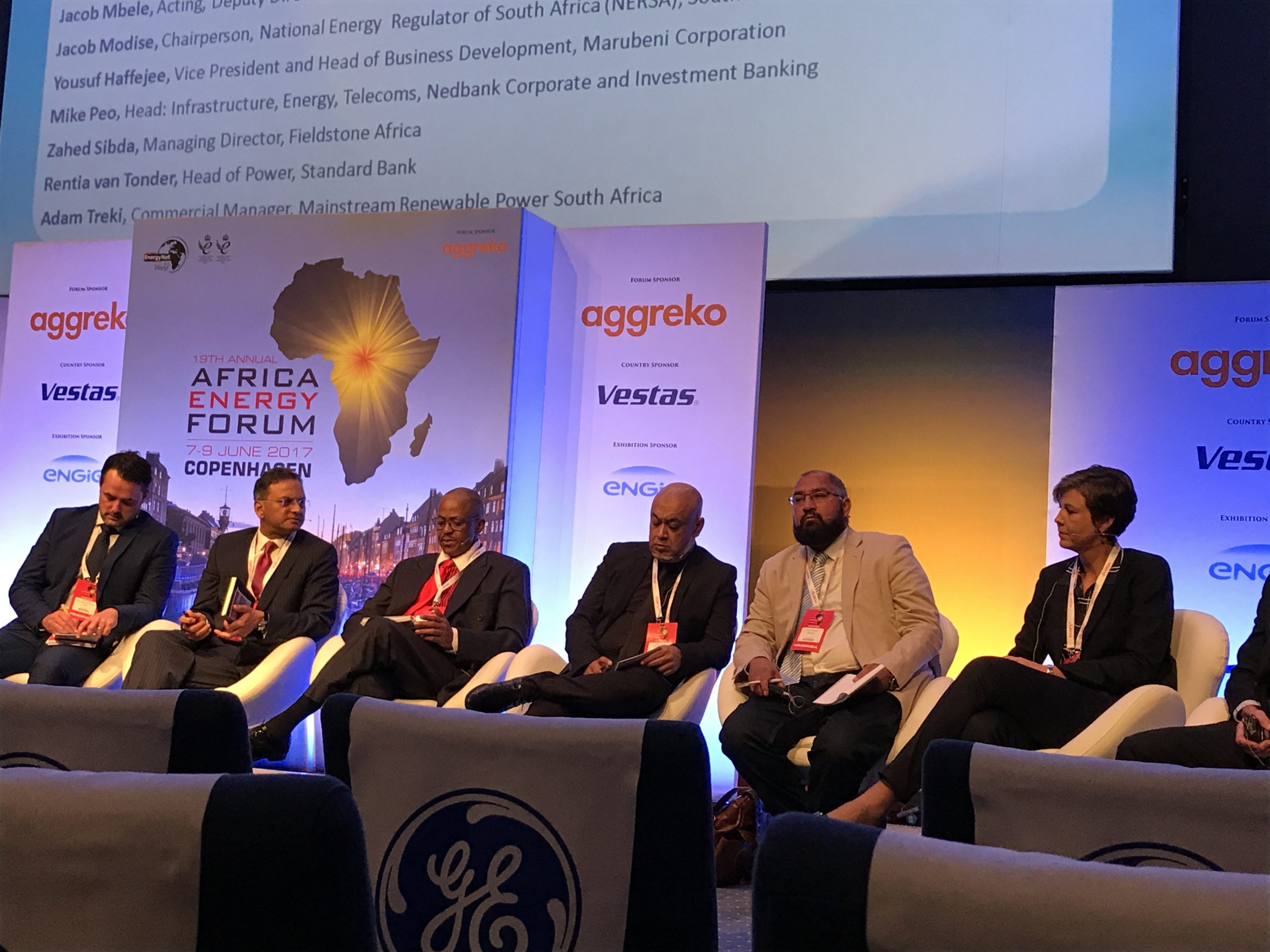 The panel discussion on South Africa's energy future at the Africa Energy Forum 2017 in Copenhagen, Denmark. Credit: Danielle Ola