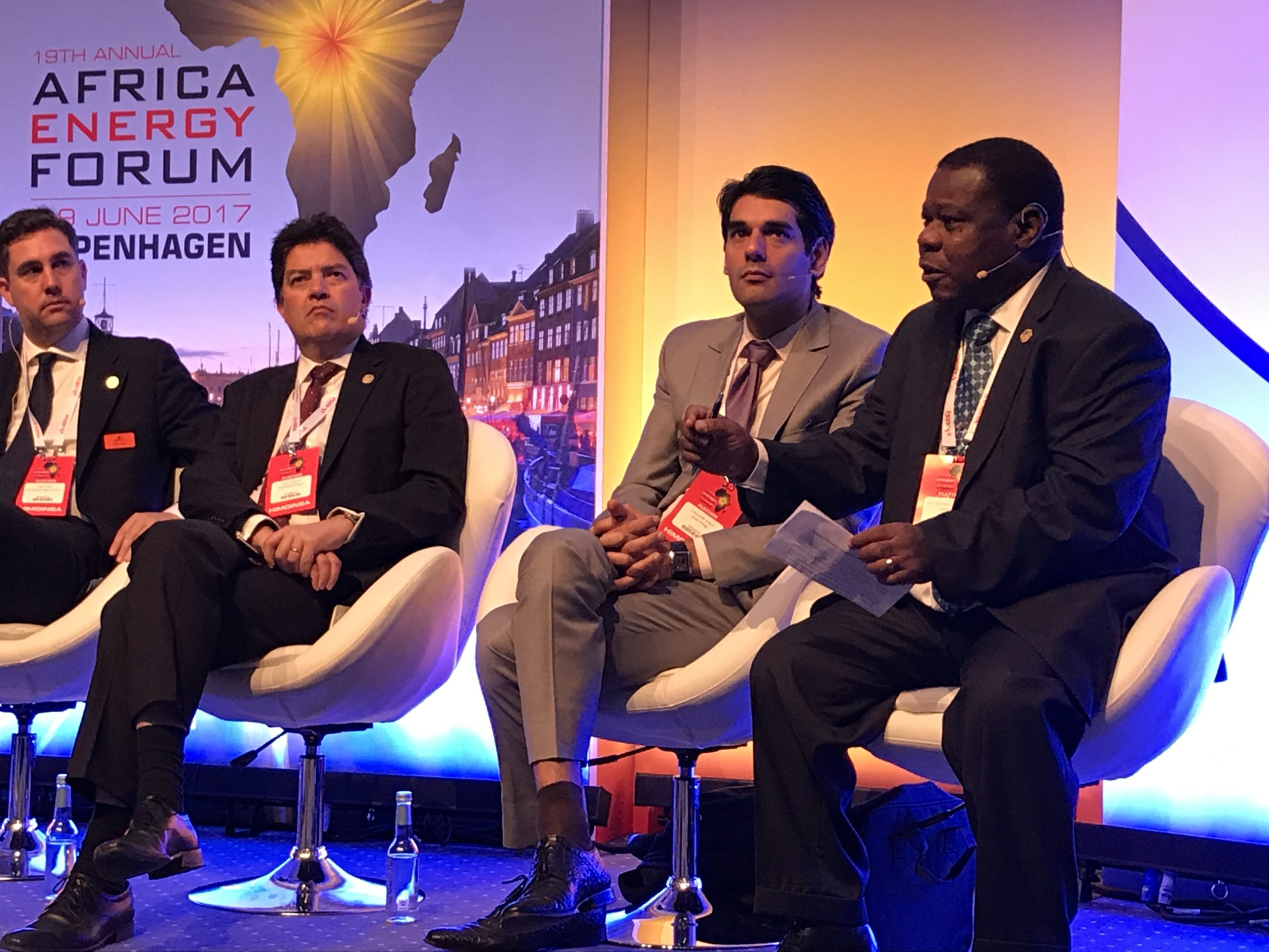 Salvador Namburete, Mozambique's former energy minister on a panel at AEF 2017.