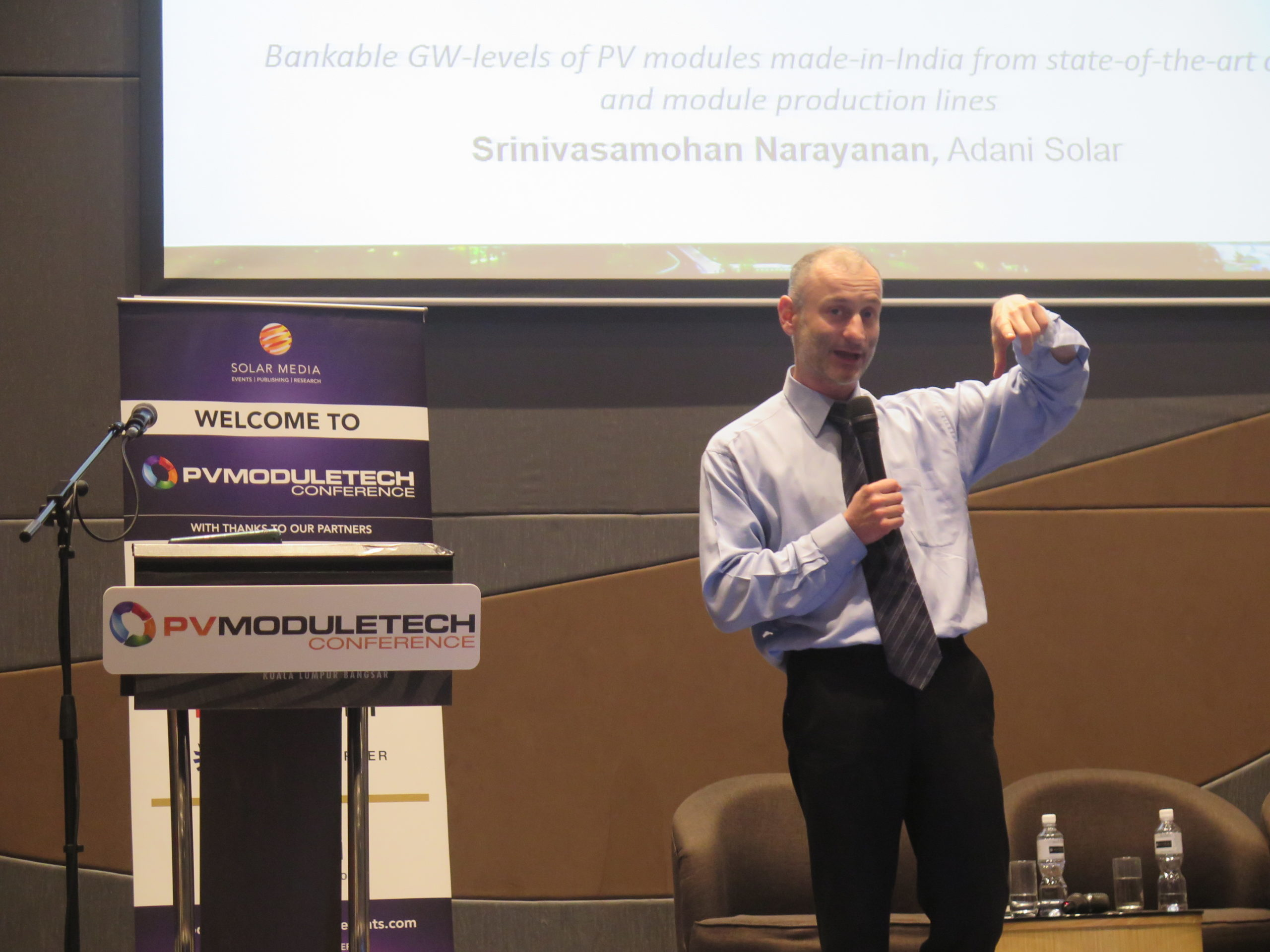 Finlay Colville, head of market research at Solar Media, on stage at PV ModuleTech 2017. Credit: Solar Media
