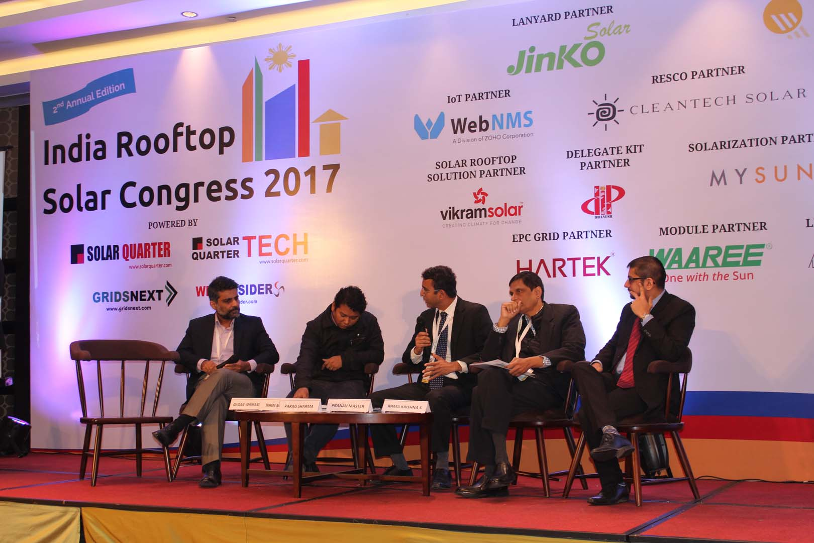 Executives from Tata Power Solar, ReNew Power, MYSUN, Crisil and an MNRE Scientist discussed India's rooftop policy and outlook at the India Rooftop Solar Congress 2017. Credit: Tom Kenning