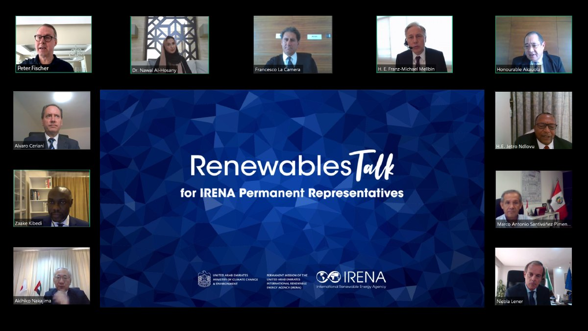The 10-country roundtable saw governments discuss IRENA's findings that betting on green energy could add US$98trn to global GDP by 2050. Image credit: IRENA