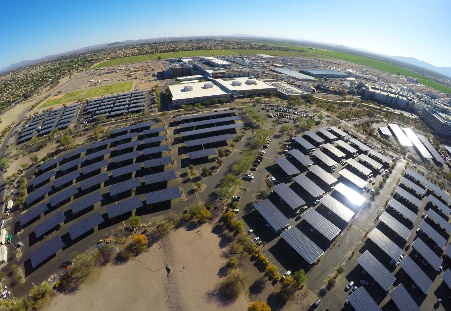 "Intel noted in its latest 2017-2018 ""Intel Corporate Responsibility Report"" that its major manufacturing and R&D campus in Ocotillo, Arizona utilises PV carports extensively onsite and has installed more than 8,000 solar parking spots worldwide to date."