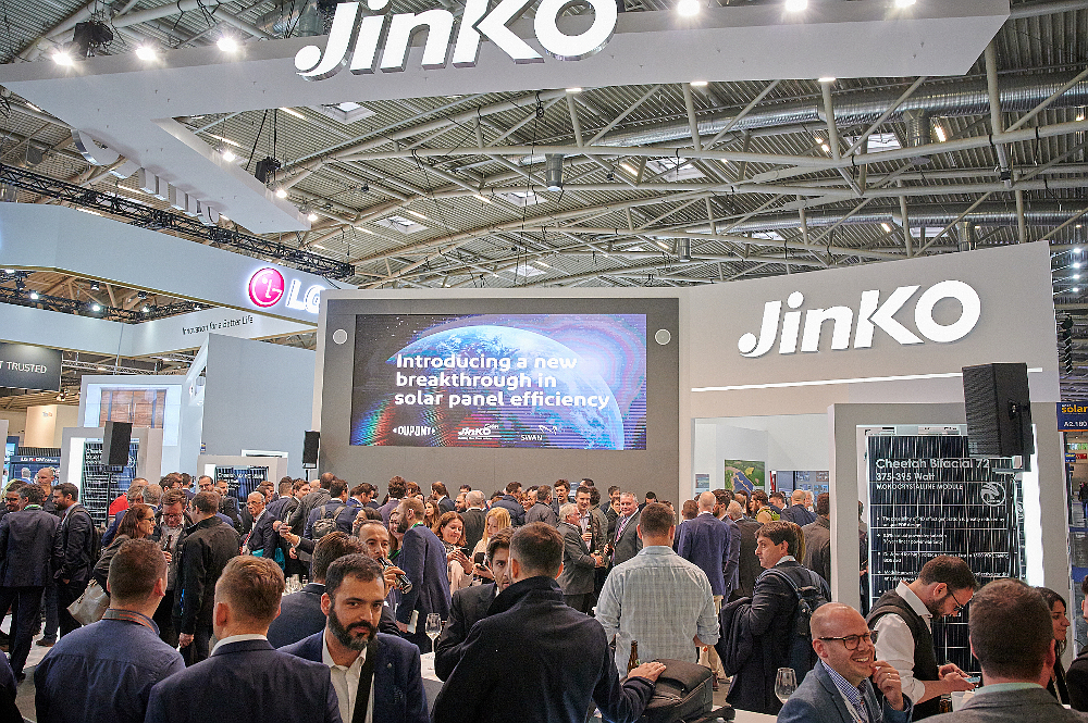 JinkoSolar has set its sights on PV module shipments globally in 2019, reaching between 14GW to 15GW, which would be a new industry record for a module manufacturer after setting a new shipment benchmark of 11.4GW in 2018. A packed booth at Intersolar Europe 2019. Image: JinkoSolar