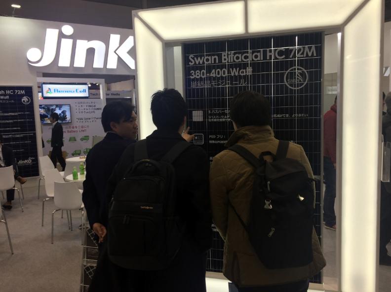 The Swan single-glass module on display at PV Expo. Source: JinkoSolar.