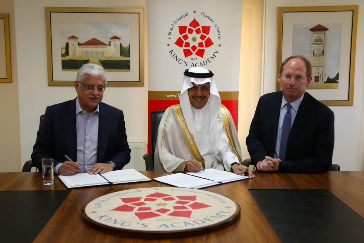 King's Academy chairman HE Bassem Al-Salem, ACWA Power chairman Mohammad Abunayyan and headmaster John Austin at the MoU signing. Source: ACWA Power