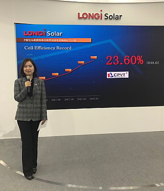 LONGi Solar, a subsidiary of LONGI Green Energy Technology, has hit 23.6% conversion efficiency with its P-type monocrystalline passivated emitter rear cell (PERC) solar cells - a new industry record.