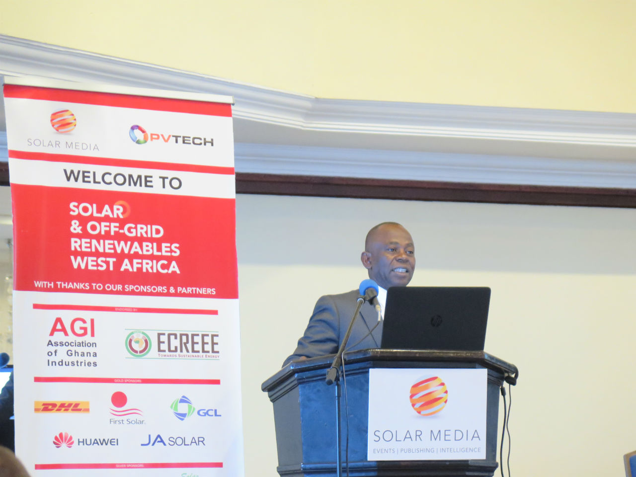 Mahamma Kappiah addressed the Solar and Off-grid Renewables West Africa conference in Accra, Ghana
