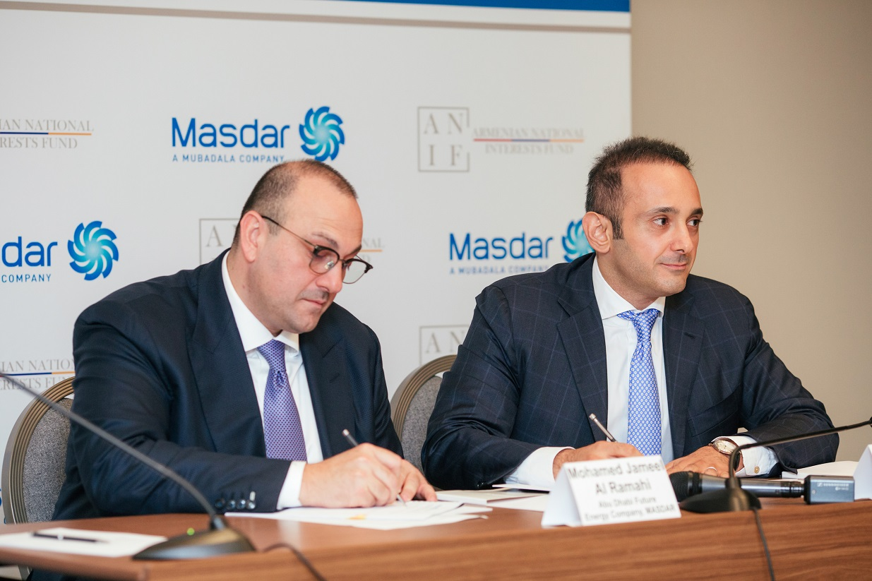 Mohamed Jameel Al Ramahi, chief executive officer of Masdar, and David Papazian, chief executive officer of the Armenian National Interests Fund, signed the MoU last week. Image: Masdar