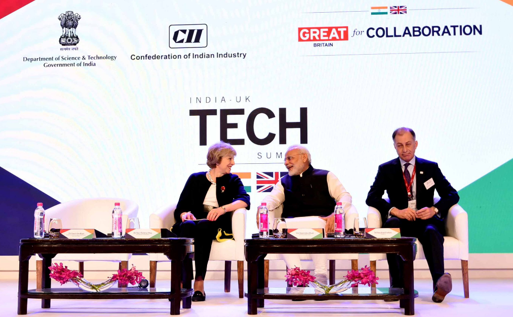 The duo made the announcement at today's India-UK Tech Summit in Delhi. Image: Narendra Modi/Twitter.