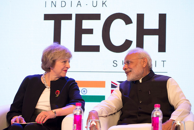 Modi and May in a previous encounter. credit: Wikicommons