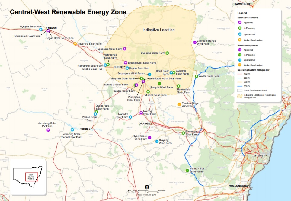 Starting with Central-West, NSW's three-zone renewable plan is part of a roadmap for state-wide emissions to reach net zero by 2050. Image credit: NSW government