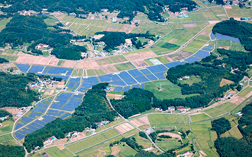 The 23MW project was developed within the village of Iitate in the Soma District of Fukushima Prefecture. Image: NTT Facilities