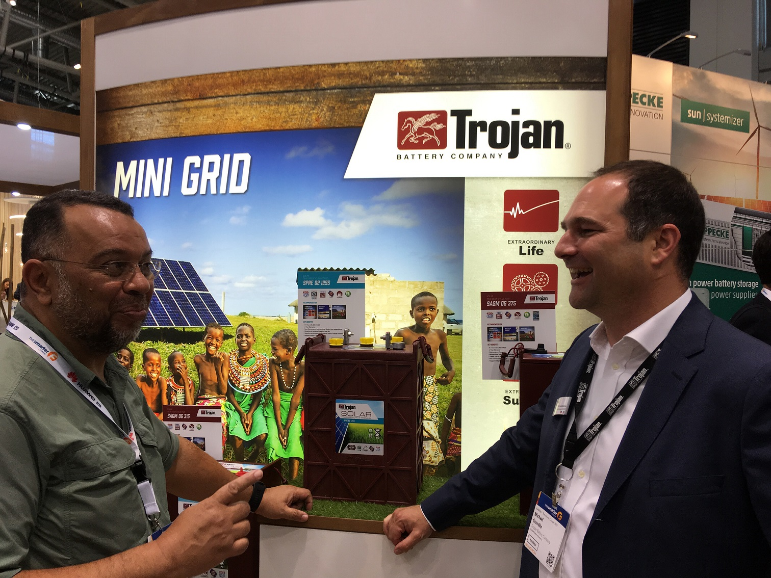 Nawir Ibrahim (left) with Trojan Battery's Michael Grundke, at Intersolar Europe in Munich, Germany, last week. Image: Andy Colthorpe.