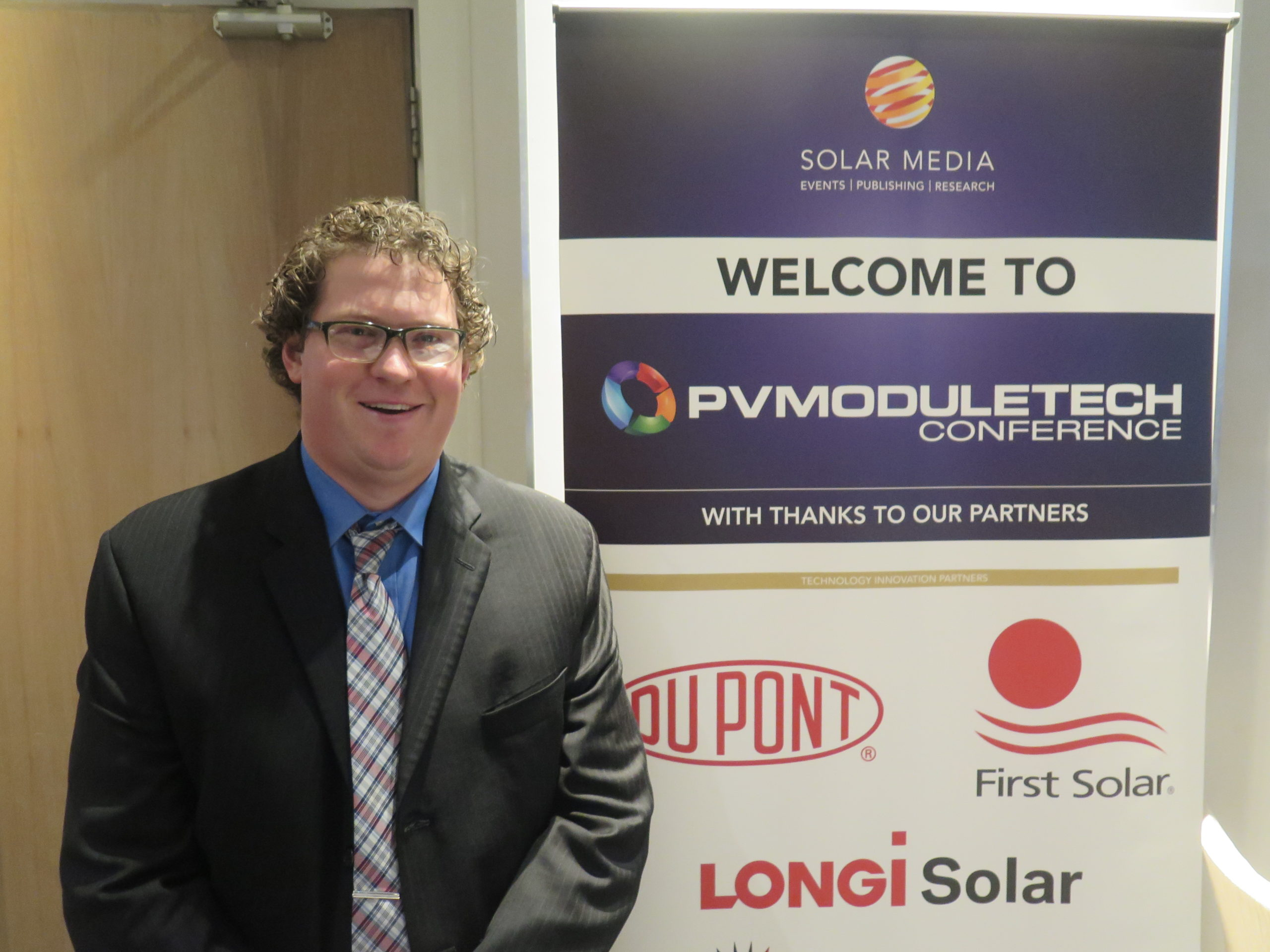 Nick Strevel, director, global technical sales, First Solar, at PV ModuleTech 2017. Credit: Solar Media