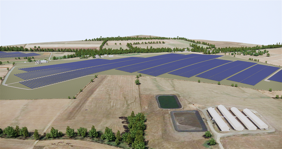 A rendered image Lightsource BP shared in February for one of the planned solar installations (Credit: Lightsource BP)