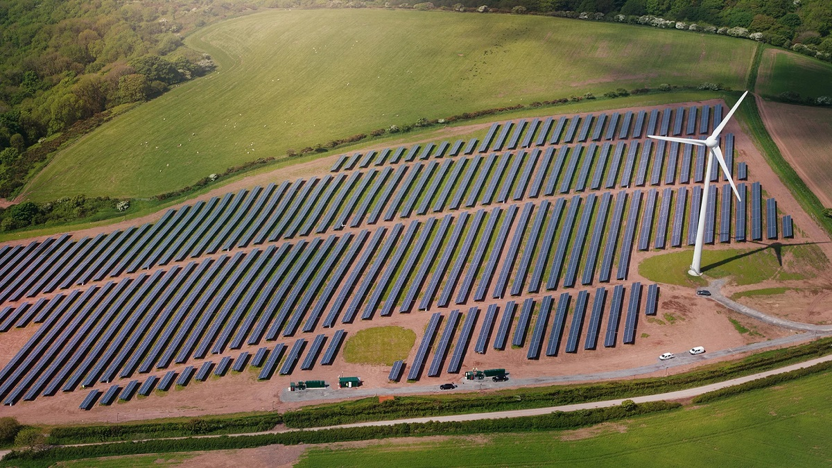 The Park Cynog hybrid wind-plus-solar farm in Wales, developed by Vattenfall. Image: Vattenfall.