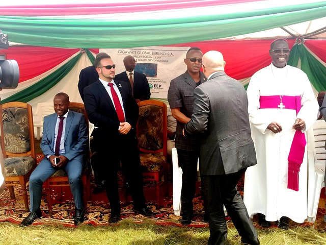 Michael Fichtenberg of Gigawatt Global greets Burundian dignitaries and the diplomatic community in a festive ground-breaking ceremony yesterday for the company's second African solar field. Source: PR Newswire
