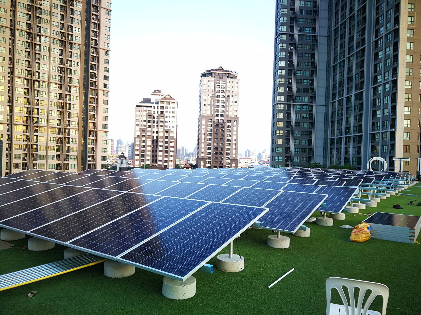 A rooftop solar installation in Bangkok, Thailand, where the Power Ledger technology has been introduced. Image: Power Ledger.