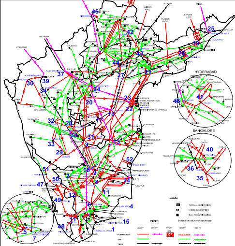 Power Map of Southern India: credit: MNRE