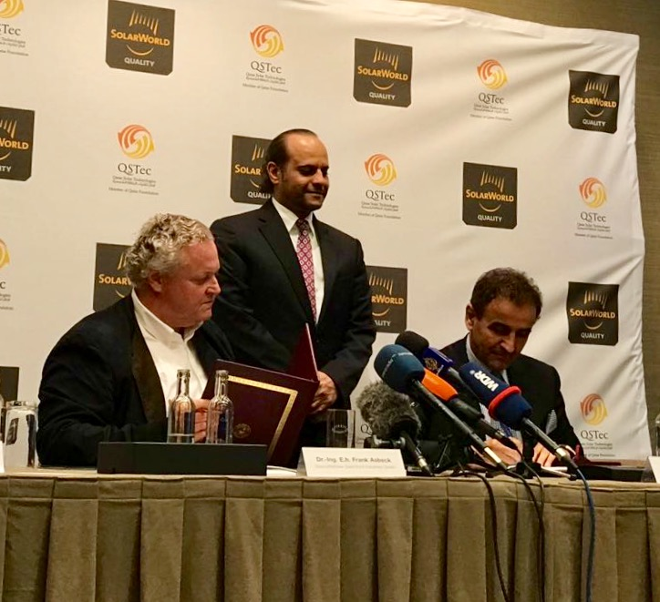 (L-R) Dr Frank Asbeck, founder SolarWorld Industries, HE Sheikh Saoud A. Al-Thani, the Ambassador of the State of Qatar to the Federal Republic of Germany and Dr Khalid Klefeekh Al Hajri, QSTec chairman and CEO.