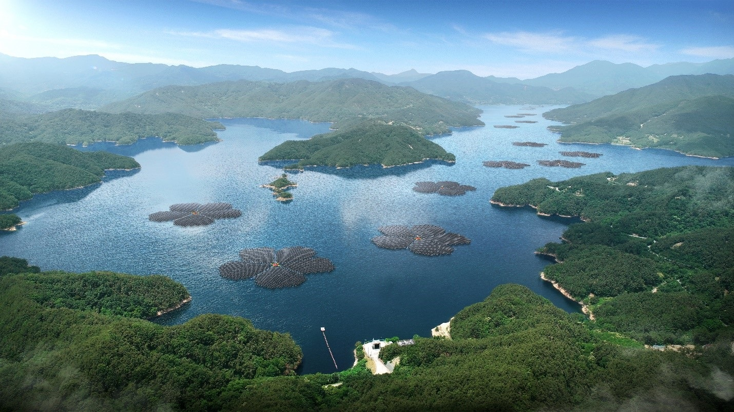 The Hapcheon Dam floating solar project will feature a design inspired by the plum blossom, the symbolic flower of the local area. Image: Q CELLS.