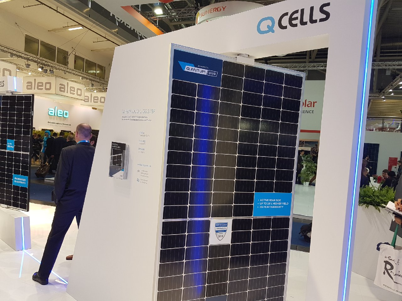 """Max Schurade, Director of Technical Marketing Support at Q CELLS, said: """"The energy yield increases offered by bifacial technology are an exciting opportunity for the solar industry. Q CELLS' new bifacial module – the Q.PEAK DUO L-G5.3/BF – is manufactured with double-glass and a white grid on the rear glass to help boost energy output. The bifacial effect drives an energy yield gain of up to 20%, while efficiencies on the entire module are close to 20%"""