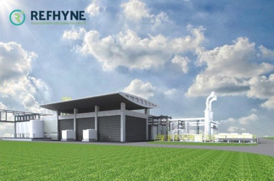 The planning image of the European Refhyne pilot, developed at Shell's Rheinland refinery, which includes a 10MW electrolyser pilot. Image: Shell/Refhyne.