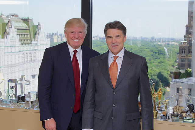 Donald Trump in 2013 with his pick for Energy Secretary, Rick Perry. Source: Flickr/Governor Rick Perry