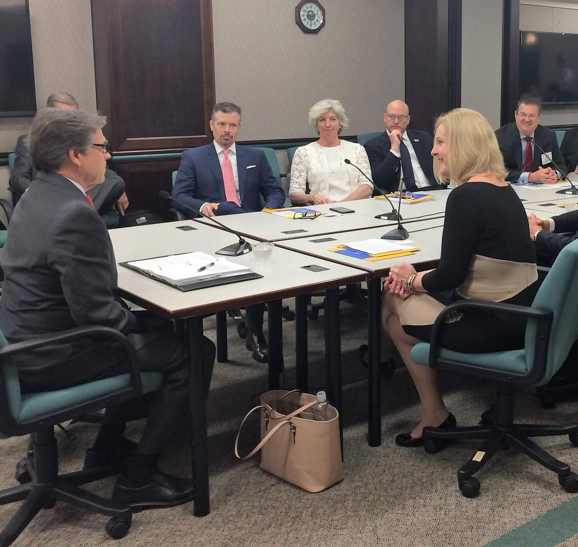 Department of Energy Secretary Rick Perry pictured with SEIA president and CEO Abby Ross Hopper and other SEIA board members at DOE headquarters in the Secretary's first public engagement. Source: SunLink LinkedIn