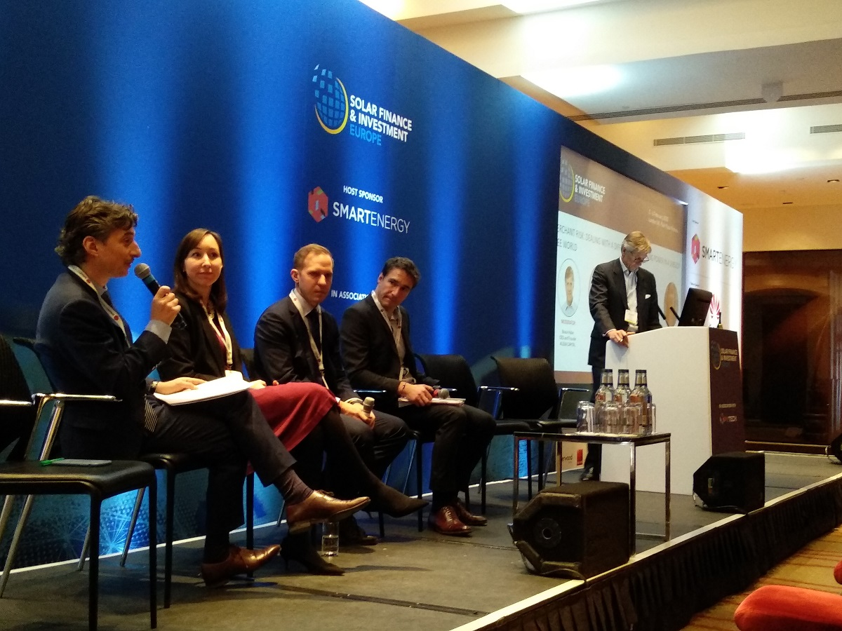 Not all taking part in the SFIEurope discussions agreed risk transfer solutions can help de-risk merchant renewable plays. Image credit: Solar Media