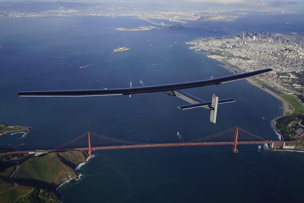 Solar Impulse 2 flies over the Golden Gate Bridge in San Francisco. Source: Solar Impulse