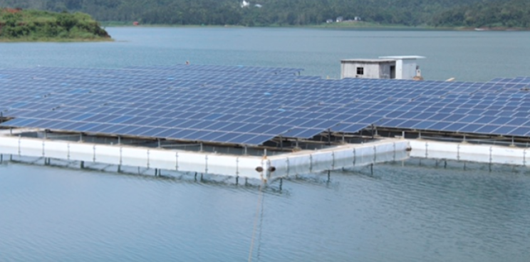 The largest floating solar plant in India, standing at 500kW capacity, was built by Trivandrum-based firm Adtech Systems at the Banasura Sagar reservoir in Wayanad. Credit: Adtech