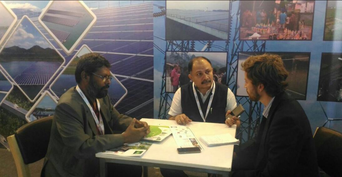 Dr Harikumar Ramadas, director of ANERT and G. Sivaramakrishnan, joint secretary, KREEPA, at Intersolar India 2017. Credit: KREEPA/ANERT
