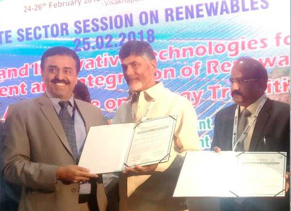 (from left) Mr Kishor Nair, COO Avaada Power with the Honorable Chief Minister of Andhra Pradesh, N. Chandrababu Naidu for a partnership to develop 500 MW solar capacity. Credit: Avaada Power