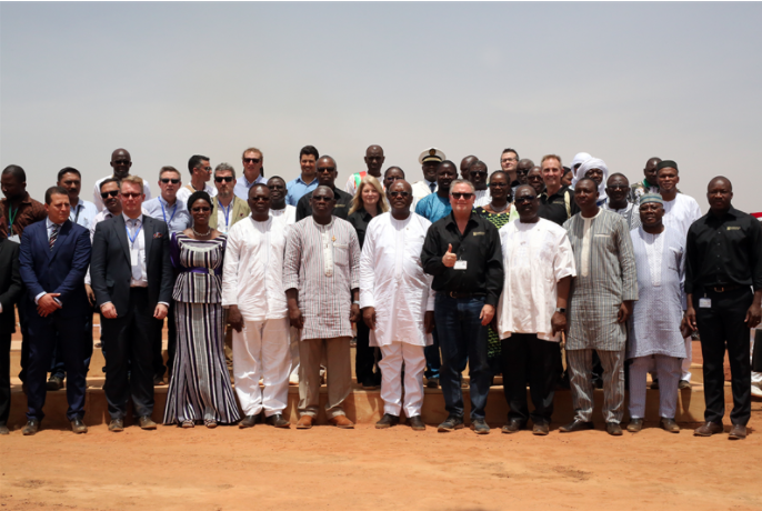The inauguration of the world's largest Solar Hybrid power plant was attended by representatives from Iamgold and Wärtsilä, as well as the President of Burkina Faso, Mr Roch Marc Christian Kaboré. Credit: Wartsila