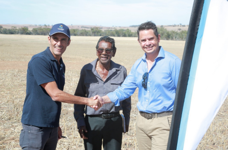 Carnegie CEO Michael Ottaviano; Cedric Jacobs, Elder, Perth Noongar Foundation; and Hon. Ben Wyatt, Treasurer, Minister for Finance, Energy, Aboriginal Affairs at the Ground Breaking Ceremony. Credit: Carnegie