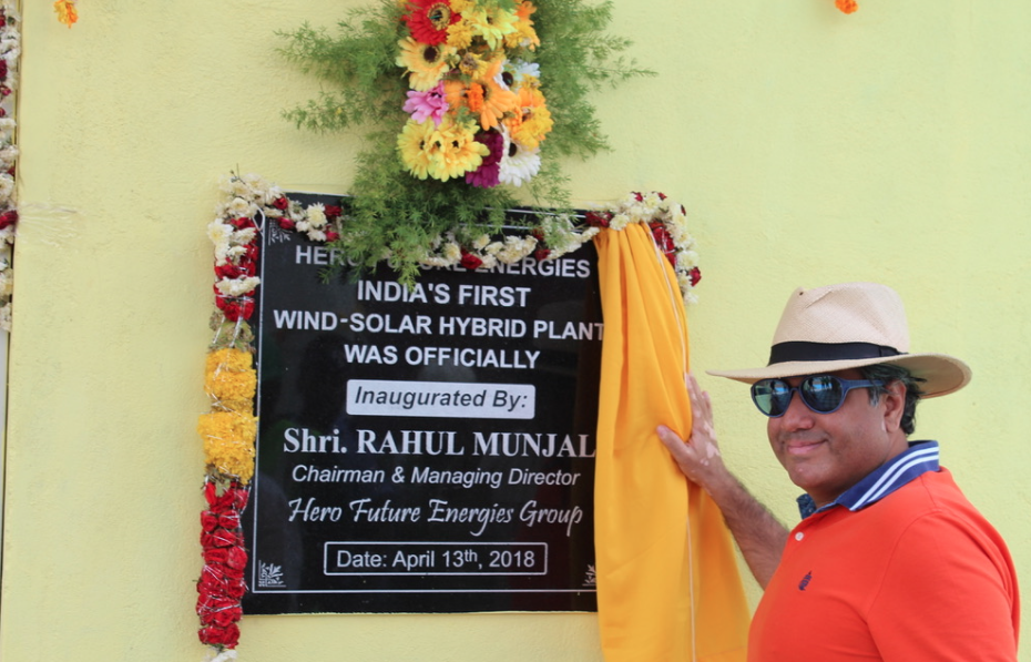 Rahul Munjal, chairman and managing director Hero Future Energies, launches the pioneering project.