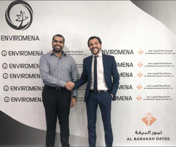 Yousuf Saleem, CEO of Al Barakah Dates Factory (left) and Sami Khoreibi, CEO of Enviromena Power Systems (right)