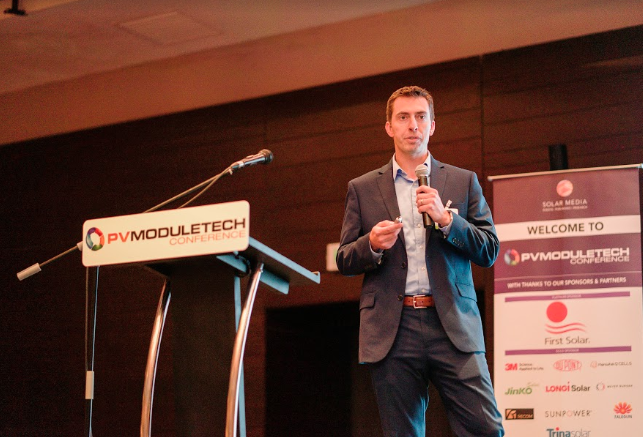 Lou Trippel, vice president of Product Management at US-based thin-film solar manufacturer and developer First Solar, speaking at PV ModuleTech 2018 in Penang, Malaysia.