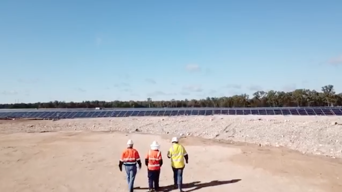 There was a short delay compared to RCR's original timeline but much shorter relative to other Queensland solar farms, said an APA spokesperson. Credit: Anthony Lynham Facebook video.
