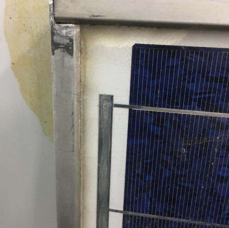 Silicon gel cracks on a PV module.