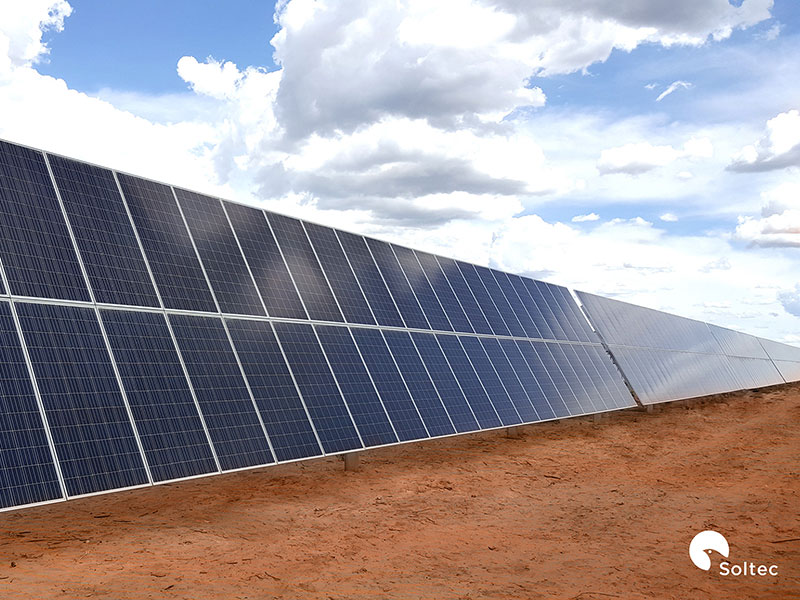 Over 5,400 complete solar trackers are being shipped to the PV plant. Credit: Soltec