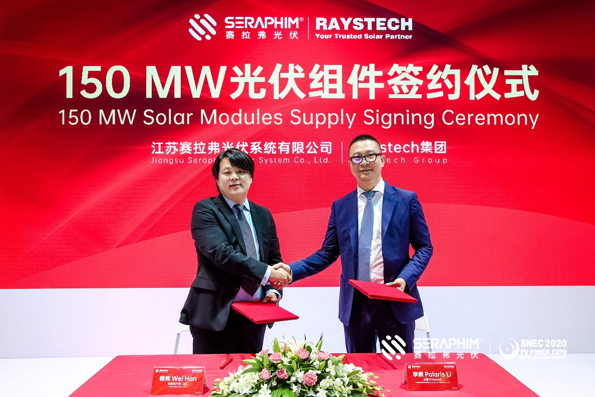 The deal between Seraphim and Raystech was signed at SNEC 2020. Image: Seraphim.