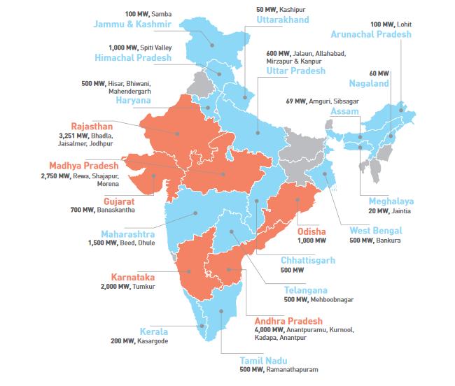 Current Solar Parks in India per state. Credit: Bridge to India