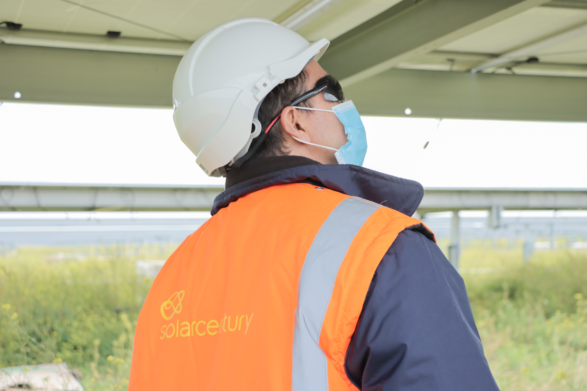 A construction worker on-site at a Solarcentury-led project in Spain. Image: Solarcentury.
