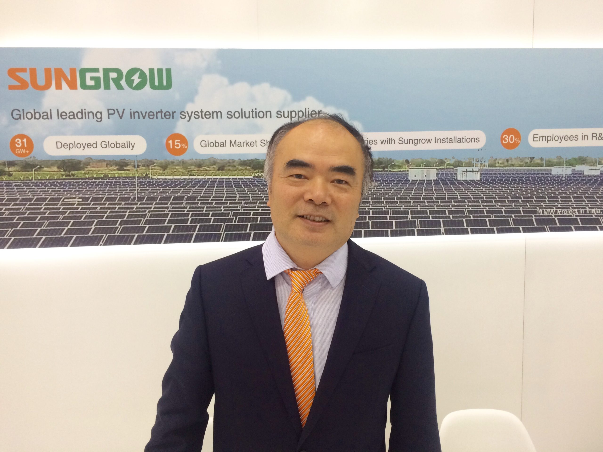 Cao Renxian, chairman and president at Sungrow, spoke to PV Tech at Intersolar Europe in Munich today about the new project. Credit: Tom Kenning